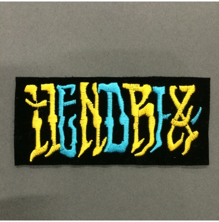 Jimi Hendrix - Hendrix Svart Gul/Blå - Tygmärke