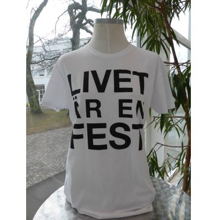 """Vit damtopp """"Livet är en fest"""""""