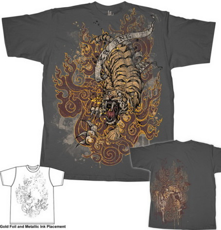 T-Shirt - Burning Tiger