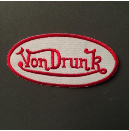 Von Drunk - Vit/Röd Logo - Tygmärke