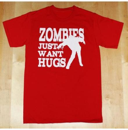 T-Shirt - Zombies Want Hugs - Röd