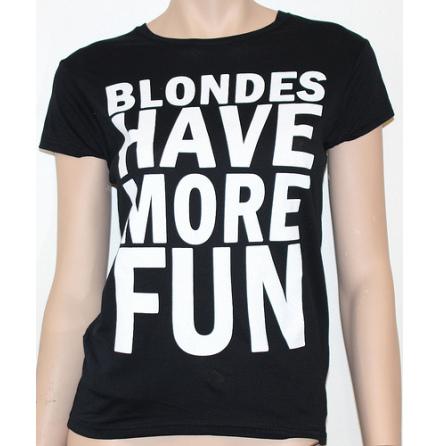 Dam Topp - Blondes Have More Fun - Svart