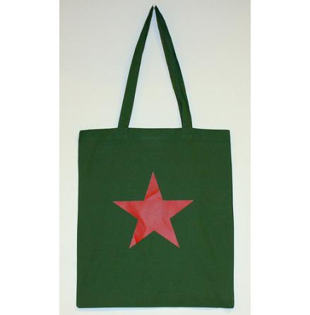 Tygkasse - Röd Stjärna (Militärgrön)